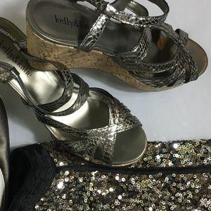 Kelly & Katie Strappy Metallic Wedge Sandals